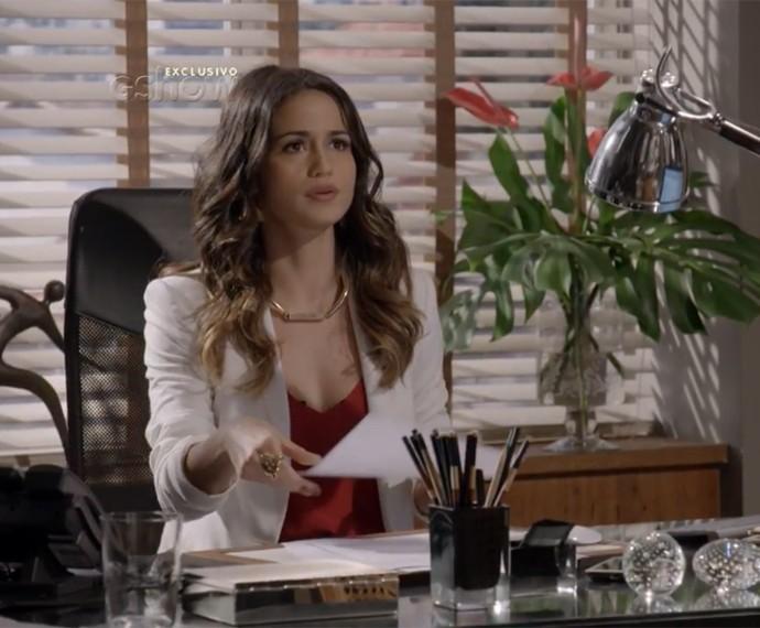 Josefina recebe Lobão em seu escritório (Foto: TV Globo)
