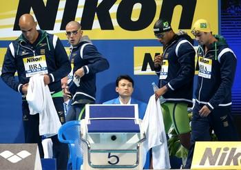 Revezamento brasileiro ficou em quarto na final do 4x100m livre em Kazan (Foto: Satiro Sodré / SSPress)