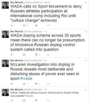 tweets portavoz wada (Foto: Reprodução Twitter)
