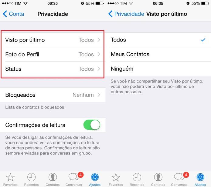 """Configure o """"visto por último"""" do WhatsApp como desejar (Foto: Reprodução/Juliana Pixinine)"""