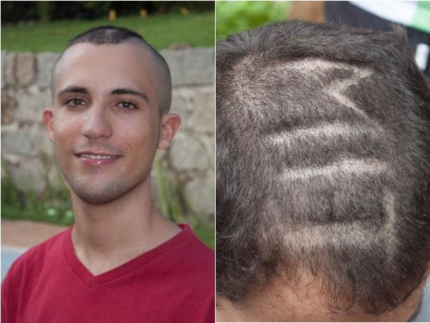 Gabriel Guimarães teve o cabelo cortado por amigos que escreveram MIT na sua cabeça (Foto: Arquivo pessoal)