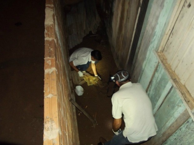 Policiais encontram local onde mulher confessou ter enterrado filho recém-nascido (Foto: Polícia Militar/Divulgação)