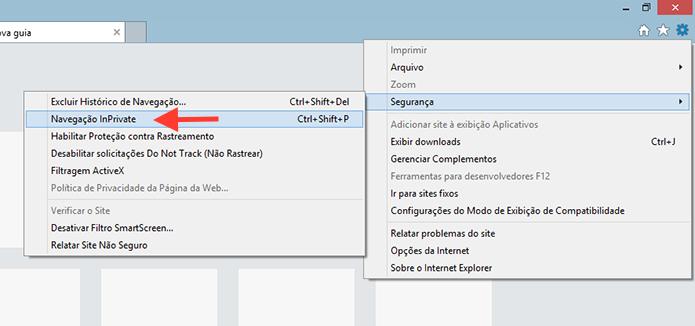 Iniciando a navegação anônima do Internet Explorer (Foto: Reprodução/Marvin Costa)
