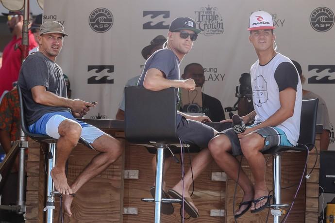 kelly Slater, Mick Fanning e Gabriel Medina surfe (Foto: Thiago Bernardes/Frame/Agência Estado)