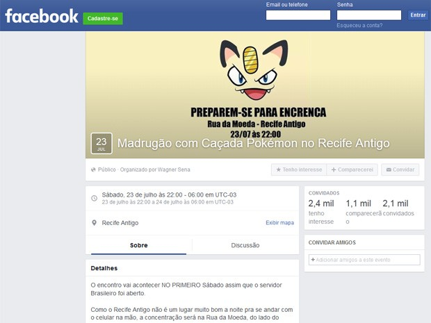 Evento no Facebook já tem mais de 1100 pessoas confirmadas (Foto: Facebook/Reprodução)