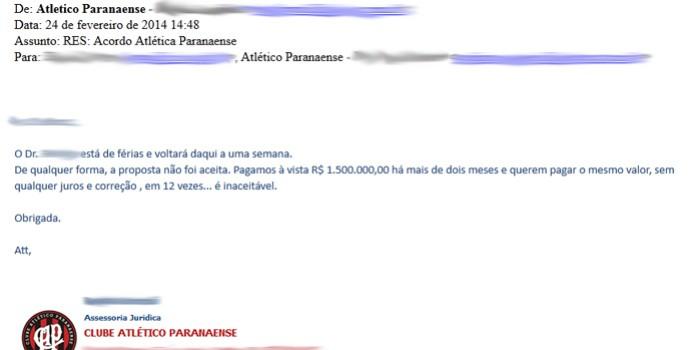Email Atlético-PR x Vitória; cao Léo (Foto: Reprodução)