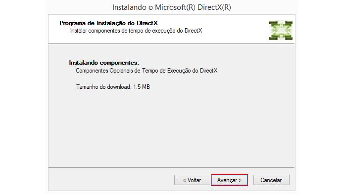 Texto é diferente quando o DirectX já está atualizado (Foto: Reprodução/Microsoft)