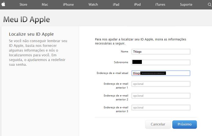 É necessário fornecer alguns dados para relembrar seu ID Apple (Foto: Reprodução/Thiago Barros)