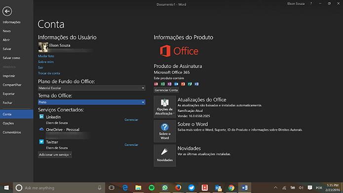 Mudança do tema do Office entrará em vigor automaticamente e aplicativo ficará preto (Foto: Reprodução/Elson de Souza)