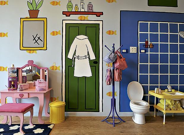 O espaço criado para Mariana e Betina foi inspirado nas ilustrações de um livro infantil (Foto: Marcelo Magnani/Editora Globo)