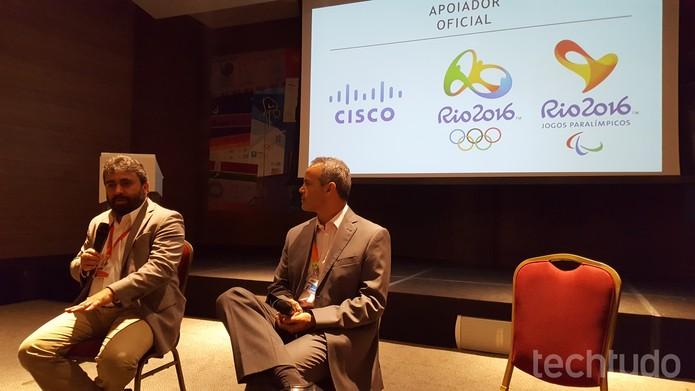 Diretor de Novos Negócios da Cisco, Rodrigo Uchoa, e Tecnologia do Comitê Rio 2016, Elly Resende, falam sobre tecnologia durante as Olimpíadas (Foto: Aline Batista/TechTudo)