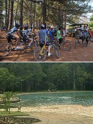 Acima, ciclistas fazem passeio no Jardim Botânico; abaixo, piscina do Parque Nacional de Brasília (Foto: Antonio Cruz/ABr e Reprodução/TV Globo)