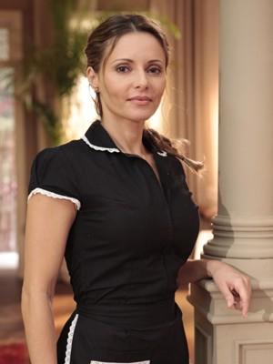 Rita Guedes caracterizada como Doralice (Foto: Flor do Caribe / TV Globo)