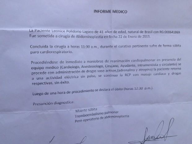 Laudo do hospital boliviano (Foto: Paula Casagrande/G1)