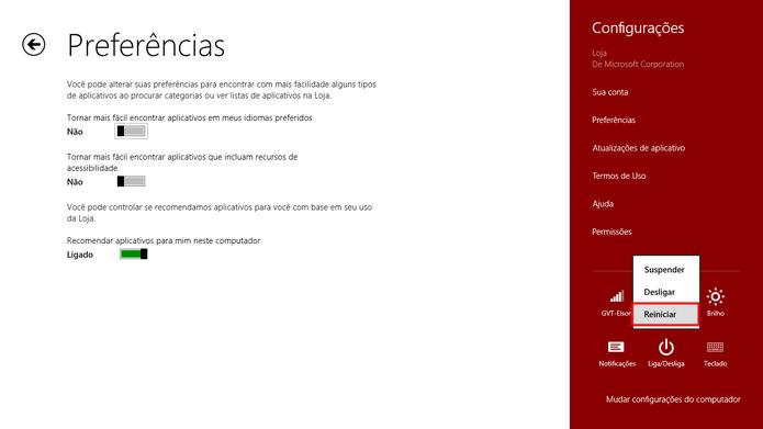 Reinicie o computador a partir da Charm Bar para ter certeza que as mudanças na loja de aplicativos do Windows entrarão em vigor  (Foto: Reprodução/Elson de Souza)