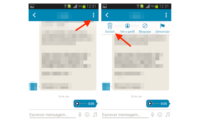 Iniciando o procedimento para deletar uma conversa no Happn para Android (Foto: Reprodução/Marvin Costa)