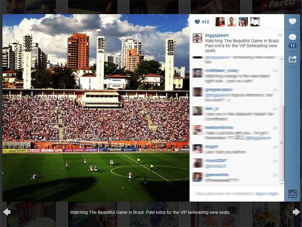 Jason Biggs tirou foto do estádio do Pacaembu, onde assistiu ao último jogo do Corinthians (Foto: Reprodução/Instagram)