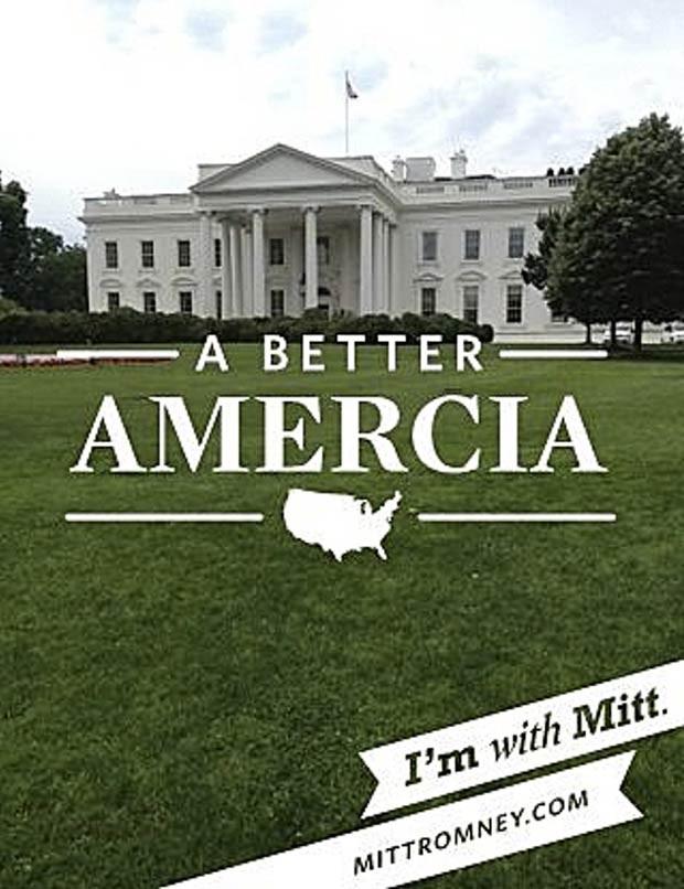 Foto tirada com o aplicativo da campanha de Romney mostra a Casa Branca com a legenda: 'Uma Amercia Melhor', com erro de digitação (Foto: Reuters)