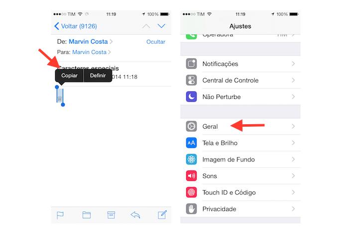 Copiando o caractere especial para inseri-lo como atalho no teclado padrão do iOS (Foto: Reprodução/Marvin Costa)