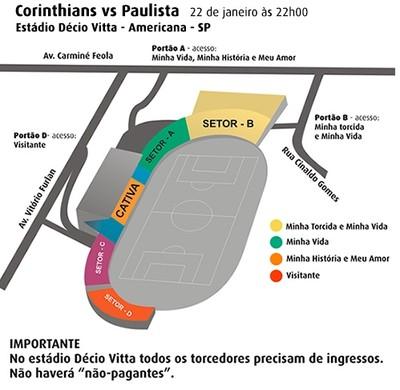 Divisão de torcidas Corinthians x Paulista no estádio de Americana (Foto: Divulgação)