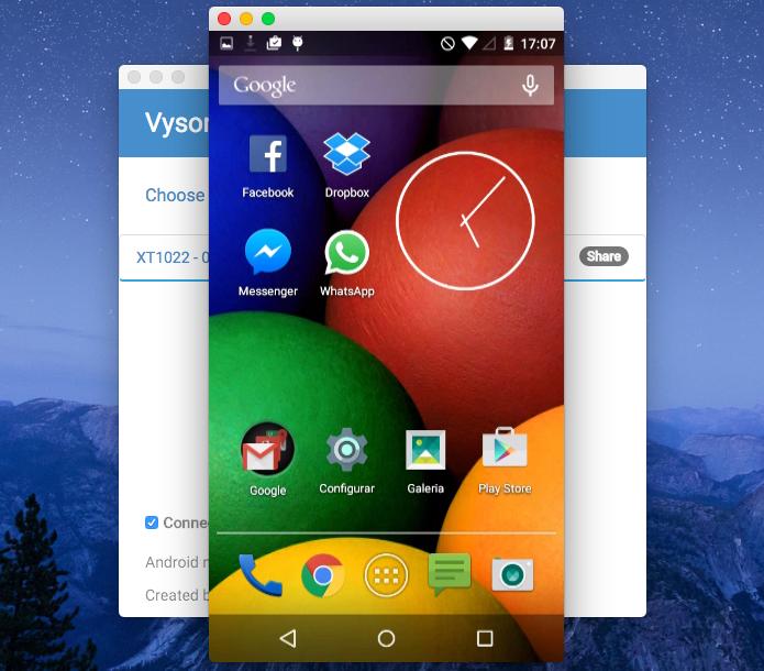 Tela do Android espelhada no computador (Foto: Reprodução/Helito Bijora)
