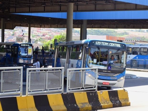Ônibus em terminal da região do Ouro Verde, em Campinas (Foto: Fernando Pacífico / G1 Campinas)