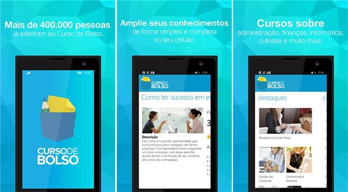 Curso de Bolso é um aplicativo para Windows Phone com aulas sobre diversos assuntos (Foto: Divulgação/Windows Phone Store)