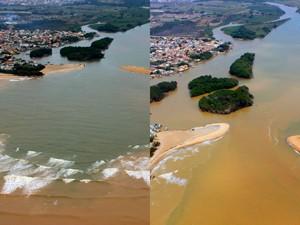 Fotos mostram avanço da língua salina na foz do Rio Paraíba do Sul em São João da Barra (Foto: Welliton Rangel/ Comitê do Baixo Paraíba)