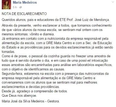 Gestora da Escola Técnica Estadual Professor José Luiz de Mendonça divulgou nota sobre providências que serão tomadas  (Foto: Reprodução /Facebook)