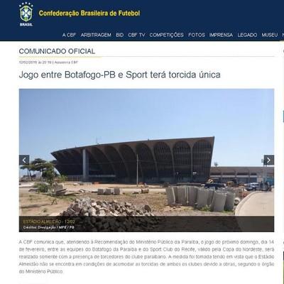 Site da CBF fala em torcida única, mas PM garante presença de leoninos (Foto: Reprodução/CBF News)