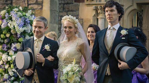 Martin Freeman, Amanda Abbington e Benedict Cumberbatch em cena de 'Sherlock' (Foto: Reprodução)