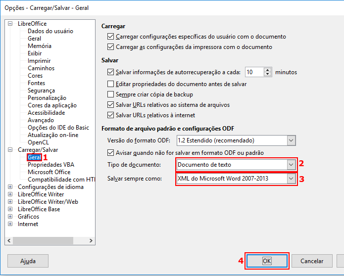 Configurando o LibreOffice para salvar documento de texto como DOCX (Foto: Reprodução/Edivaldo Brito)