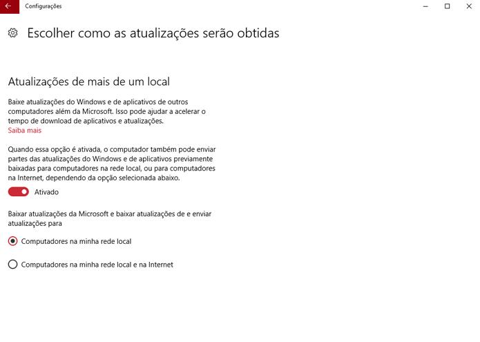 Altere a maneira como recebe ~e envia as atualizações do Windows 10 (Foto: Reprodução/André Mello)