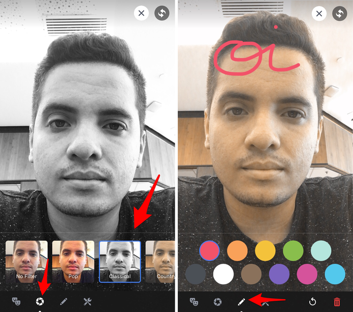 Opções de filtros e outros efeitos para transmissões ao vivono Facebook pelo celular (Foto: Reprodução/Lucas Mendes)