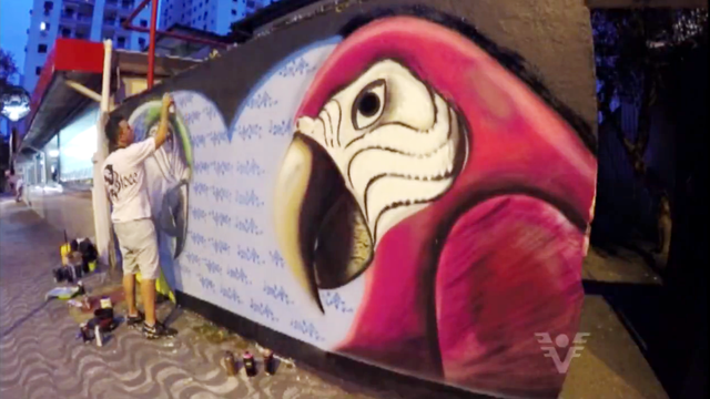 Daniel Bloco grafitando muro (Foto: Reprodução/TV Tribuna)