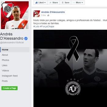 D'Alessandro envia mensagem de apoio a Chapecoense (Foto: Reprodução / Facebook)