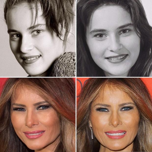 Melania Trump: acima, em 1987; abaixo, em 2017 (Foto: Reprodução)