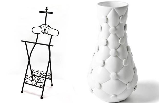 O mancebo vintage da Vila Pano está em promoção para membros do The Bazaar, de 615 reais por 350 reais. O vaso de cerâmica de capitonê, da AMMA Boutique de arquitetura sai por 320 reais (Foto: Divulgação)