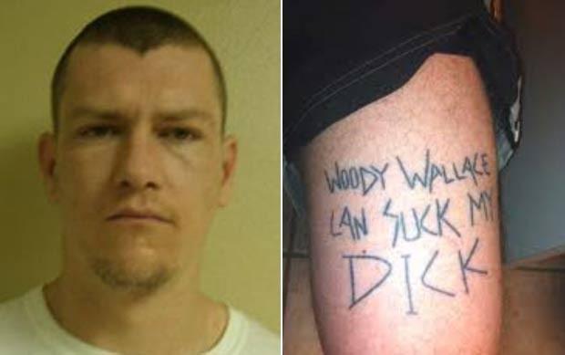 Depois de ser preso em março de 2012 pelo policial Woody Wallace, o americano Jonathan Thompson, de 30 anos, tatuou em sua perna uma mensagem ofensiva ao policial (Foto: Divulgação)