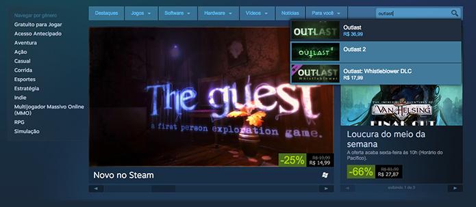 Busque por Outlast no Steam (Foto: Reprodução/Murilo Molina)