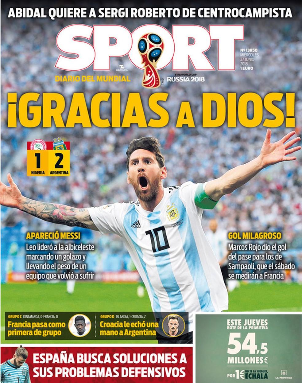 capa do sport sobre classificação da argentina (Foto: Divulgação)