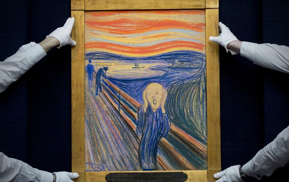 A obra 'O grito', de Edvard Munch (1863-1944), vendida por US$ 119,9 milhões na Sotheby's em 2012 (Foto: Carl Court/AFP)