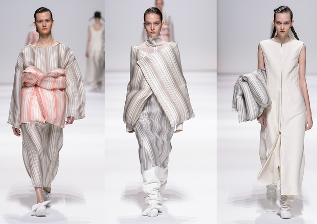 "As ""fronhas"" acolchoadas usadas como bolsa, capa e corselet da Jil Sander (Foto: ImaxTree)"