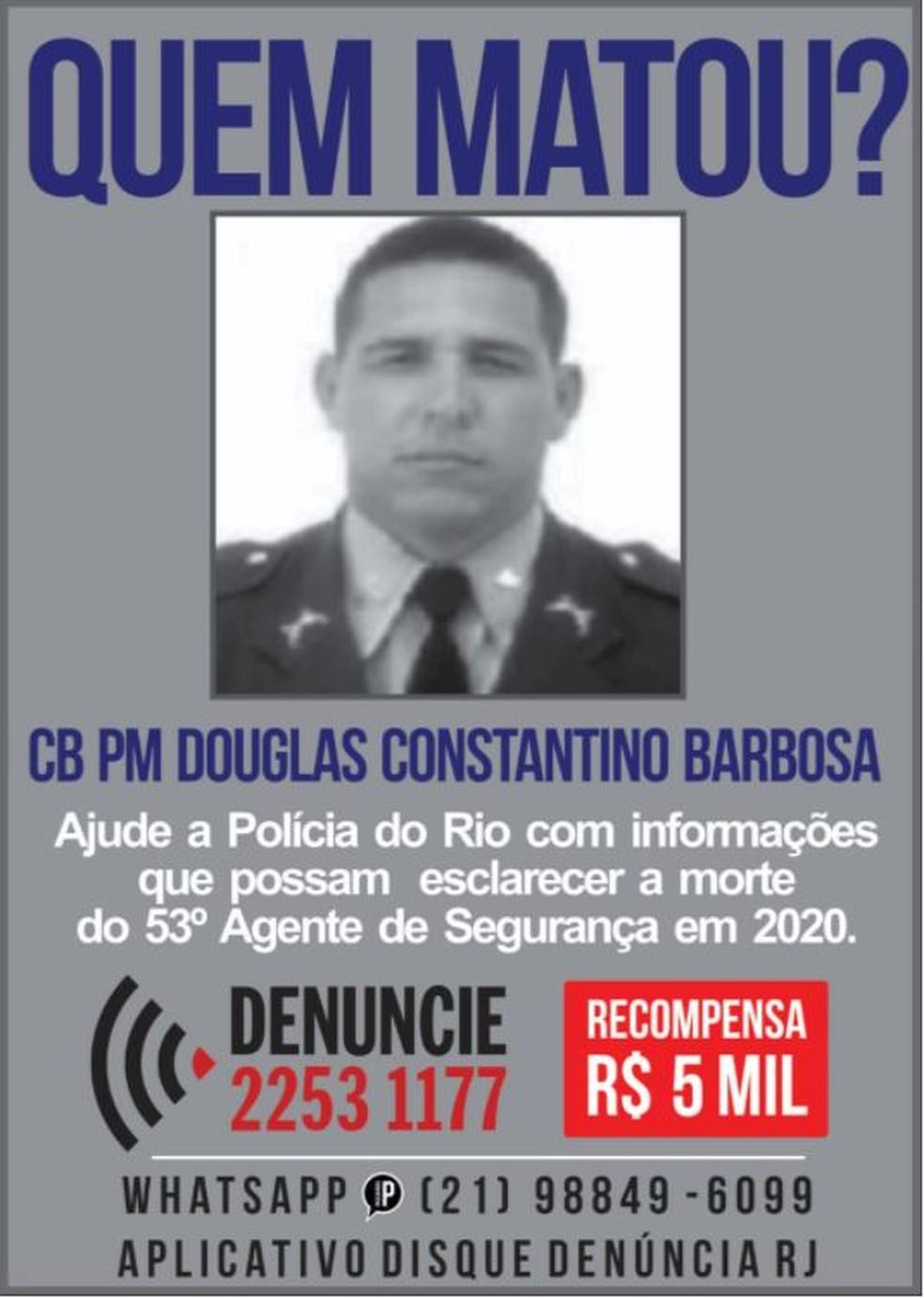 O cabo Douglas foi assassinado a tiros na tarde de sábado (5) em Nova Iguaçu. — Foto: Divulgação