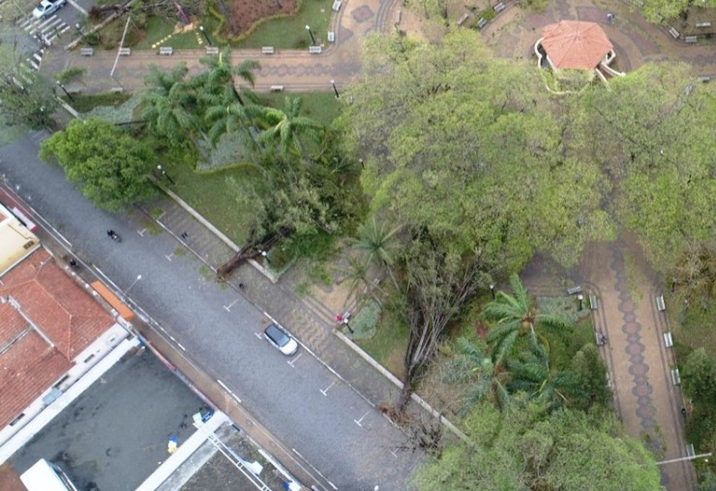 Estragos causados pelo temporal em Pirassununga — Foto: Guarda Municipal/Divulgação