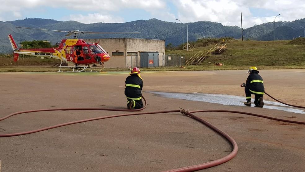 Bombeiros participam de simulado de emergência em Barão de Cocais, onde barragem da Vale está em nível máximo de alerta. — Foto: Corpo de Bombeiros de Minas Gerais/Divulgação