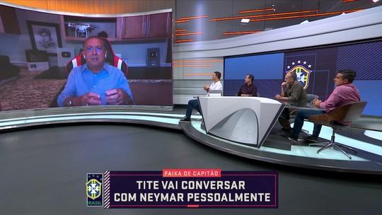 """Galvão Bueno critica Tite e diz que Neymar """"não tem perfil para ser capitão da seleção brasileira"""""""