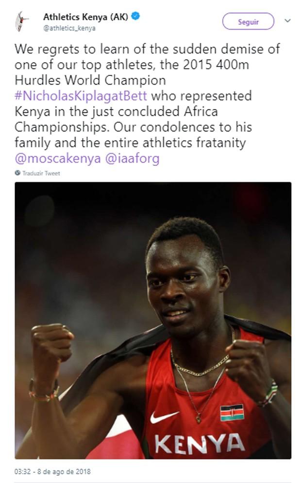 Associação de atletas do Quênia lamenta morte de Nicholas Bett (Foto: Reprodução/Twitter)
