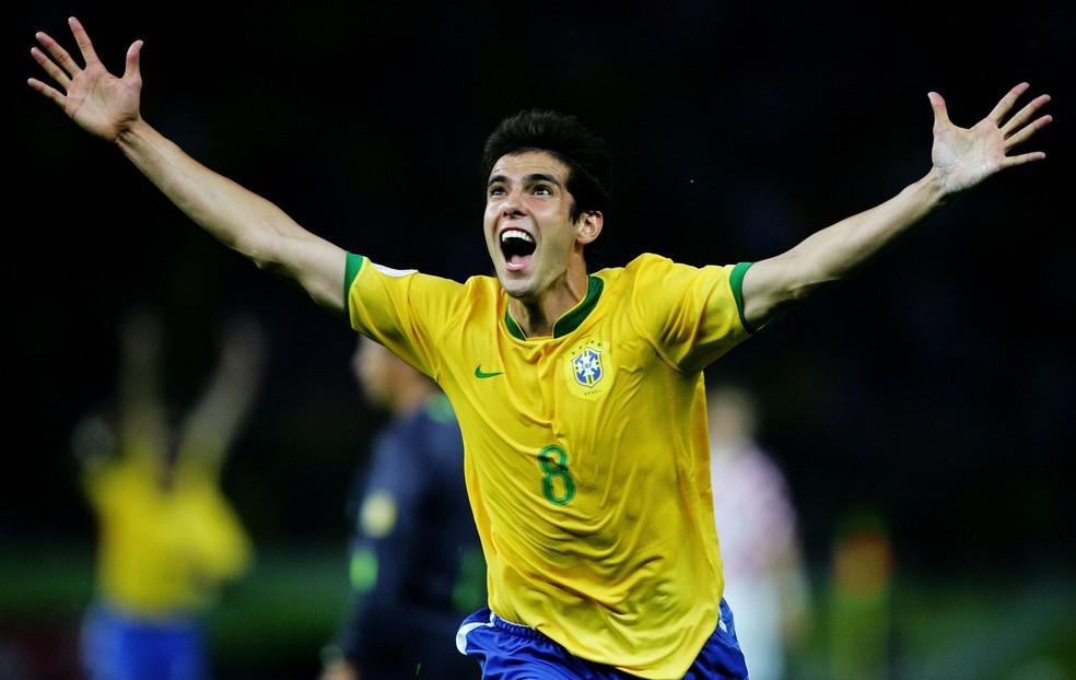 Kaká comemora seu gol contra a Croácia na Copa de 2006 — Foto: Getty Images