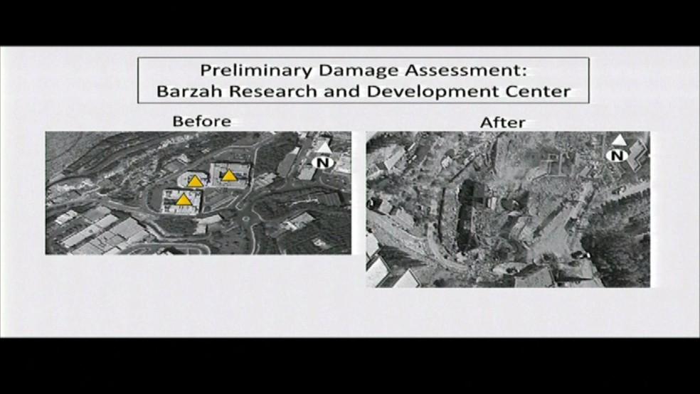 Antes e depois do centro de pesquisa e desenvolvimento Barzah, na Síria, atacado por EUA e aliados (Foto: Departamento de Defesa dos Estados Unidos/Reprodução)